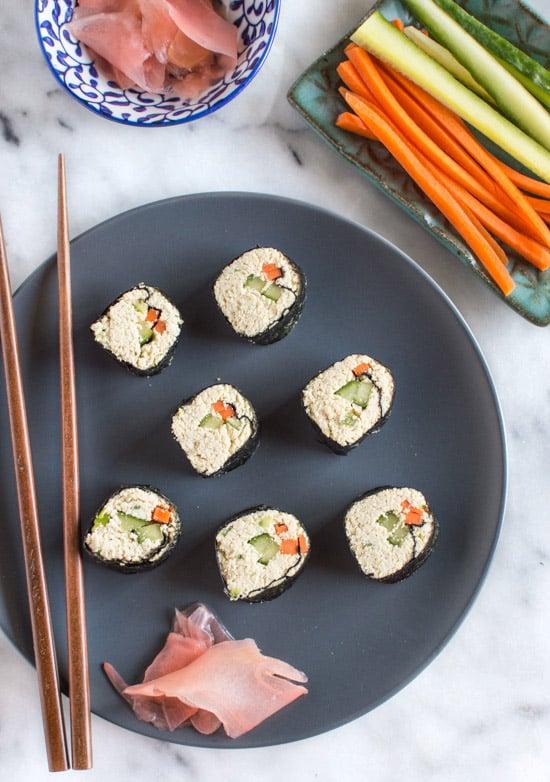 Grain Free Tofu Sushi | healthynibblesandbits.com #vegan #glutenfree #raw #grainfree