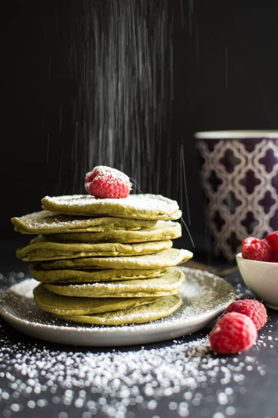 Delicious, fluffy, vegan green tea pancakes that will brighten your morning!