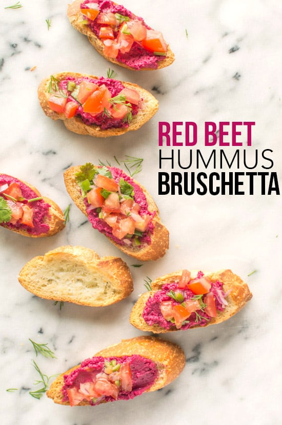 The perfect appetizer - Red Beet Hummus Bruschetta | healthynibblesandbits.com