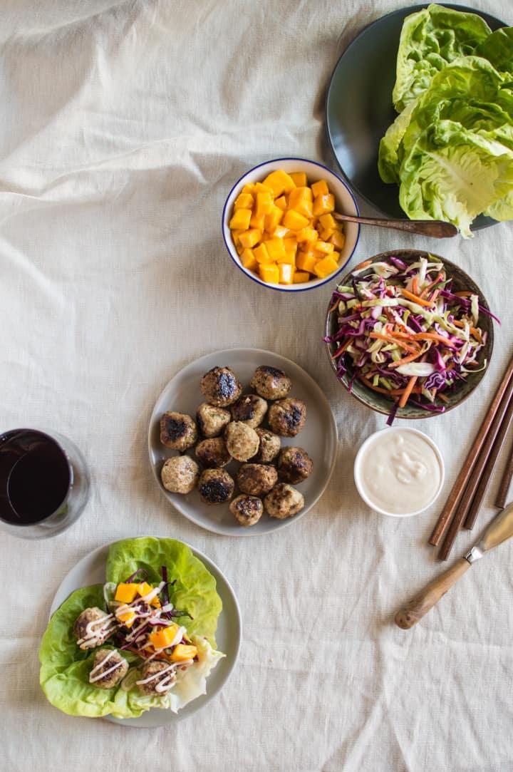 Asian Jerk Meatball Wraps   healthynibblesandbits.com