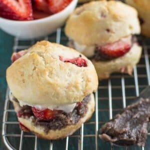 Mini Strawberry Scones with Red Bean Paste | healthynibblesandbits.com