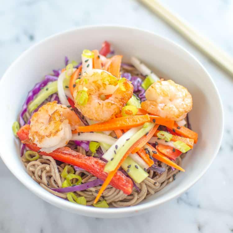 Shrimp & Pickled Vegetables Soba Bowl | https://healthynibblesandbits.com/shrimp-pickled-vegetables-soba-bowl/