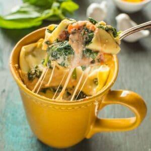 You can make delicious, fresh lasagna in a mug! All it takes is 15 minutes. Spinach Ricotta Lasagna In A Mug | healthynibblesandbits.com