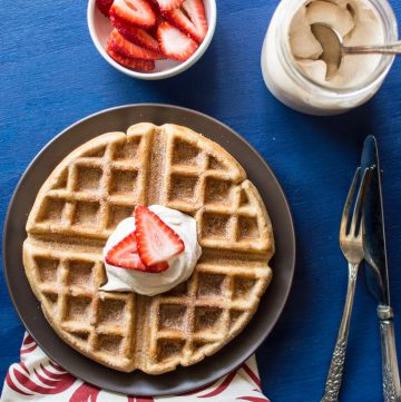 Churro Waffles with Cayenne Whipped Cream