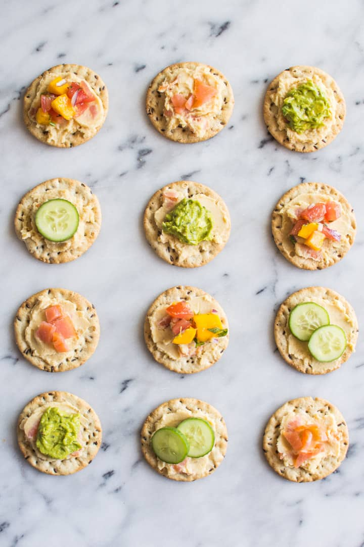 Hummus with Smoked Salmon - the perfect gluten-free party bite! | healthynibblesandbits.com