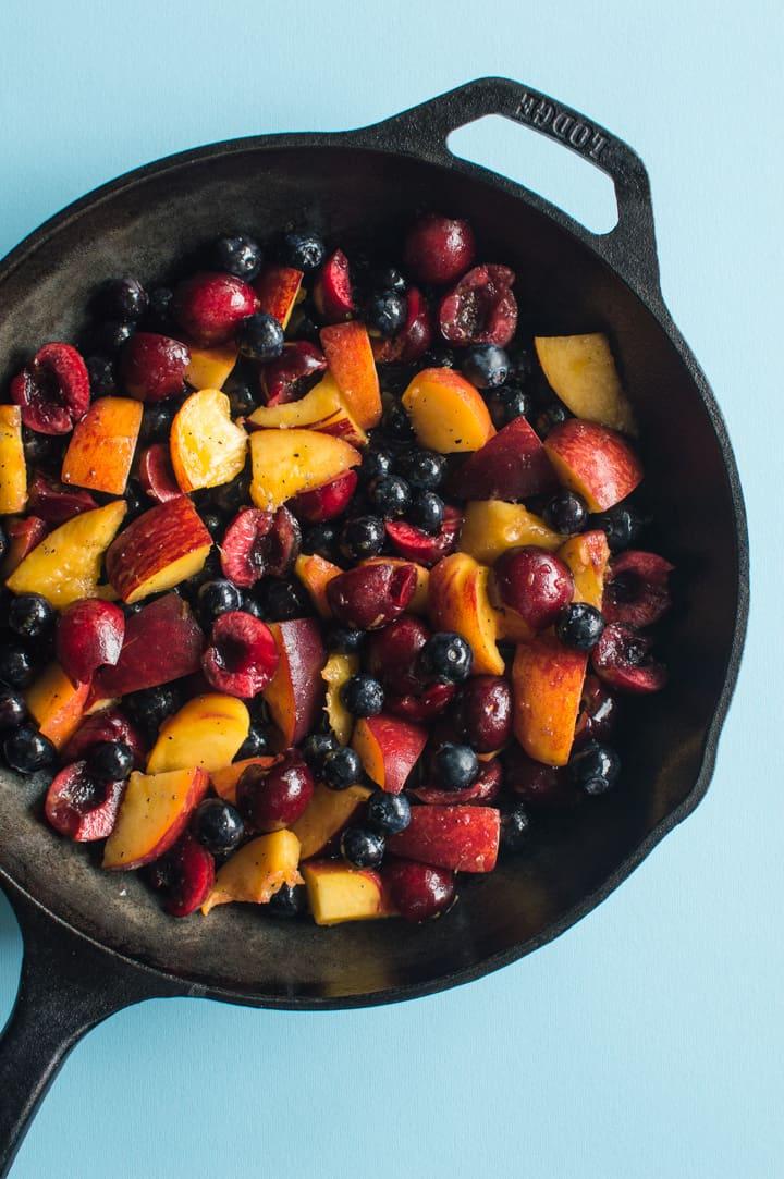 Peach Cherry Blueberry Crumble - vegan + gluten-free!   https://healthynibblesandbits.com/