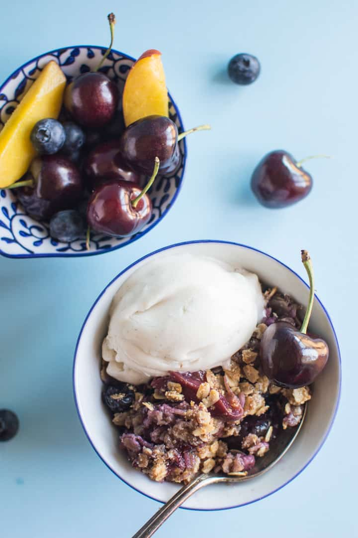 Peach Cherry Blueberry Crumble - vegan + gluten-free! | https://healthynibblesandbits.com/