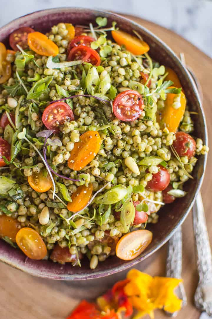 Sorghum Salad with Kale Pesto - Delicious light vegan and gluten free summer dish! | healthynibblesandbits.com