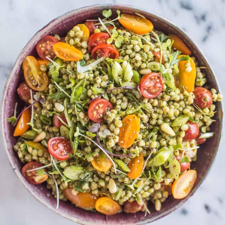 sorghum salad with kale pesto healthy nibbles