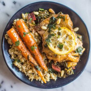 One-Pan Braised Lemon Paprika Chicken with Sumac - tasty dish ready in 30 minutes! | healthynibblesandbits.com
