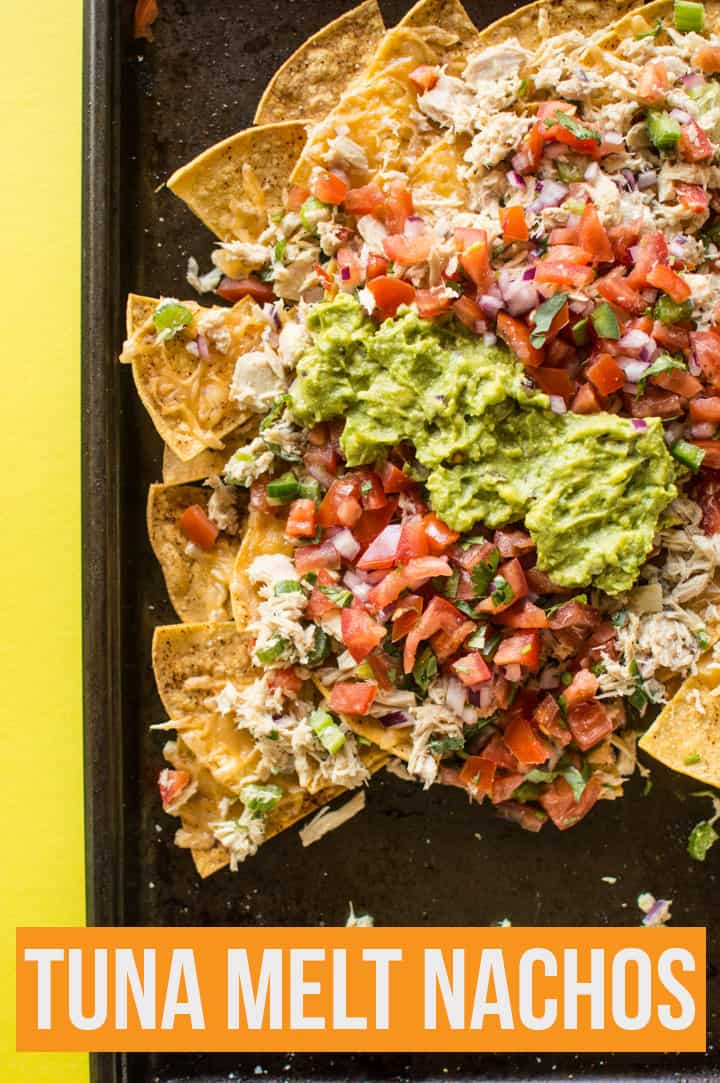 Asian Tuna Melt Nachos - a delicious no-mayo tuna salad atop crunchy homemade tortilla chips. An easy, healthy 30-minute appetizer! | healthynibblesandbits.com