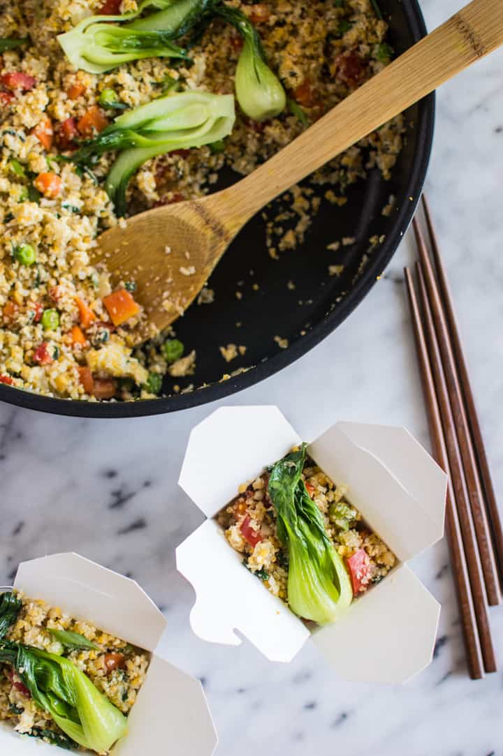 Easy Cauliflower Fried Rice with Baby Bok Choy - a healthy meal ready in 30 minutes! paleo, gluten-free, whole30 | healthynibblesandbits.com