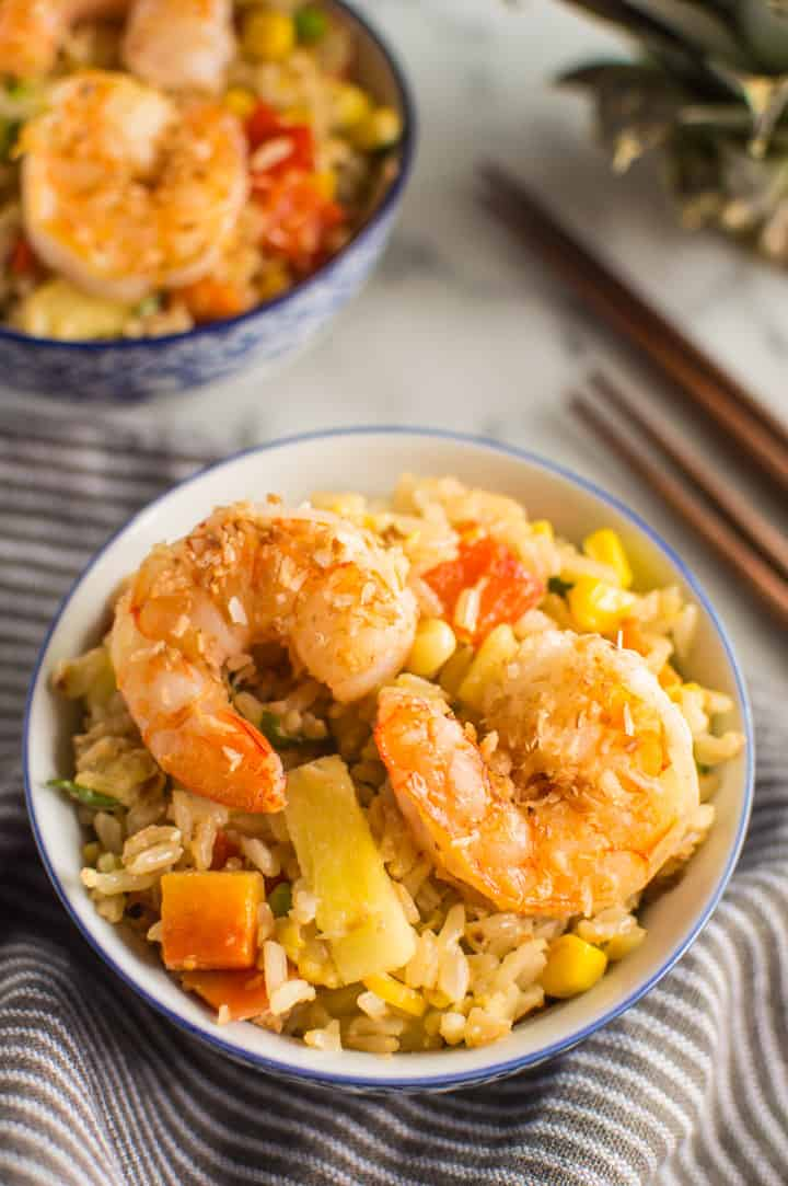 Coconut Pineapple Fried Rice with Shrimp - perfect for parties | healthynibblesandbits.com