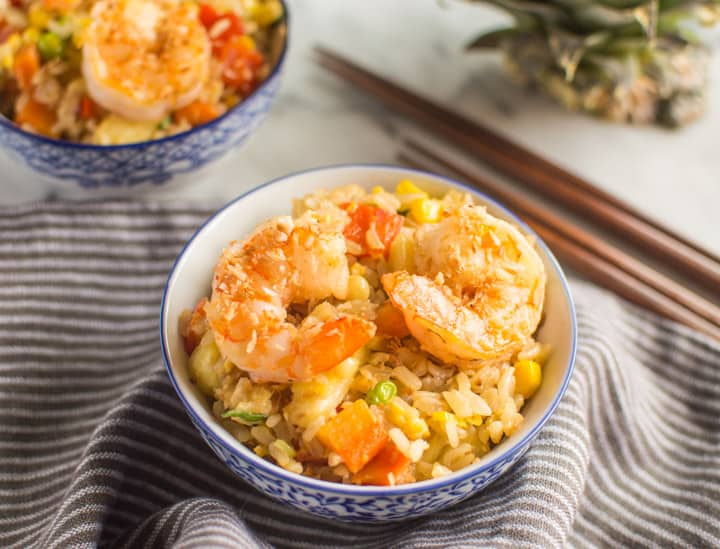 Coconut Pineapple Fried Rice with Shrimp | Healthy Nibbles & Bits