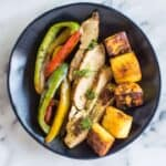 Cilantro Chicken Fajitas with Fried Plantains - a healthy, easy paleo and gluten-free meal that is perfect for weeknights!   healthynibblesandbits.com