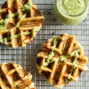 Mashed Potato Waffles - they're packed with flavor and paleo friendly! Perfect for breakfast! | healthynibblesandbits.com