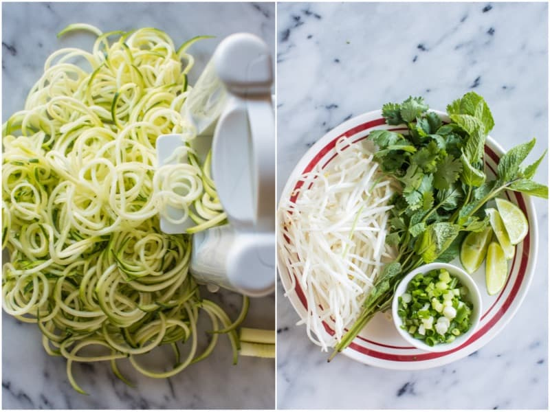 Quick Vegetarian Pho with Zucchini Noodles - an easy pho recipe that anyone can make!