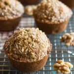 Whole Wheat Maple Banana Nut Muffins - healthy muffins made with NO refined sugar. Great recipe for breakfast!   healthynibblesandbits.com