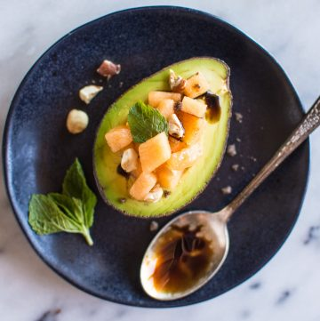 Avocado Cantaloupe Boats with Pomegranate Balsamic Reduction