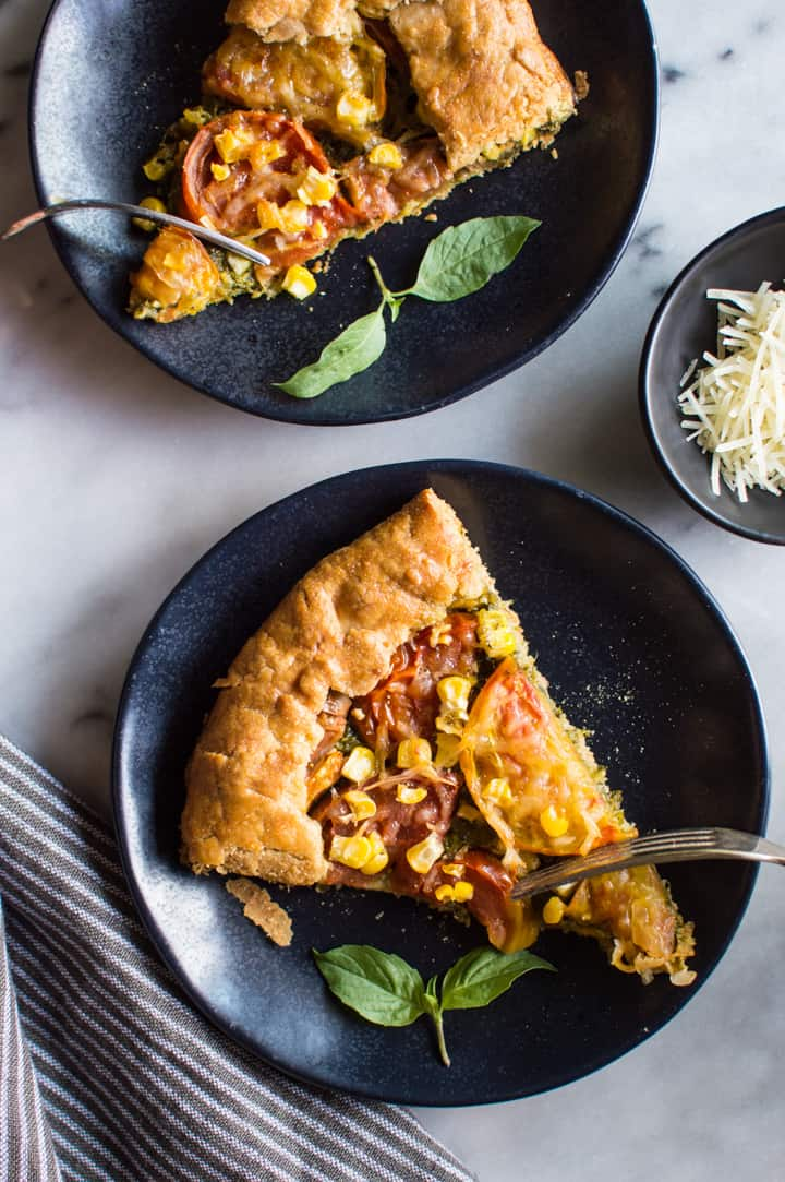 Gluten-Free Heirloom Tomato Galette with Kale Pesto - a delicious savory galette with a flaky gluten-free crust!   healthynibblesandbits.com