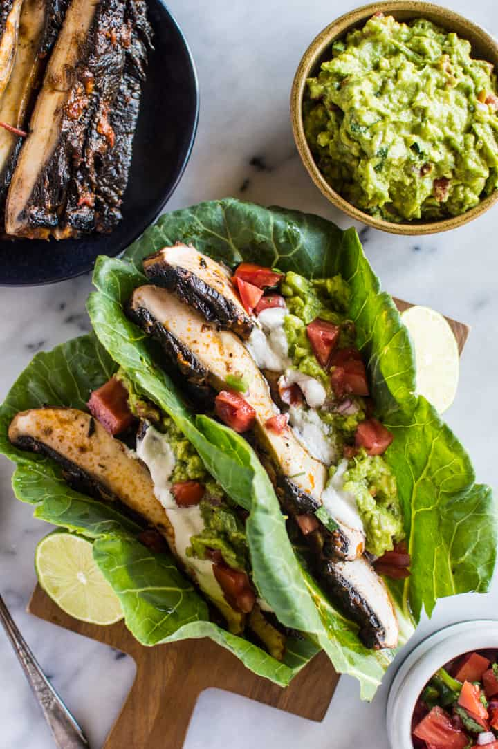 Harissa Portobello Tacos - lighten up your tacos with collard greens! These tacos are ready in under 30 minutes! vegan, gluten-free, paleo, whole30 | healthynibblesandbits.com