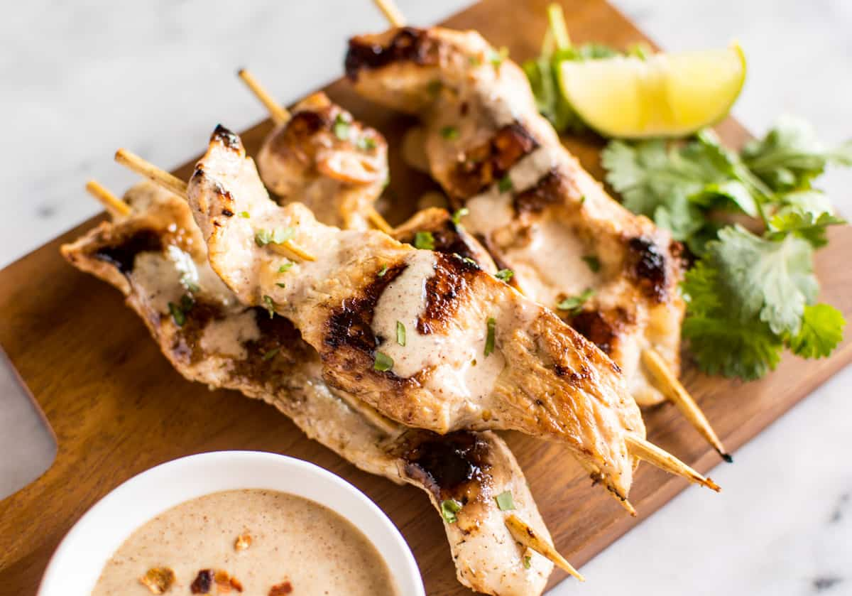 Lemongrass Chicken Satay with Almond Butter Dipping Sauce | Healthy ...