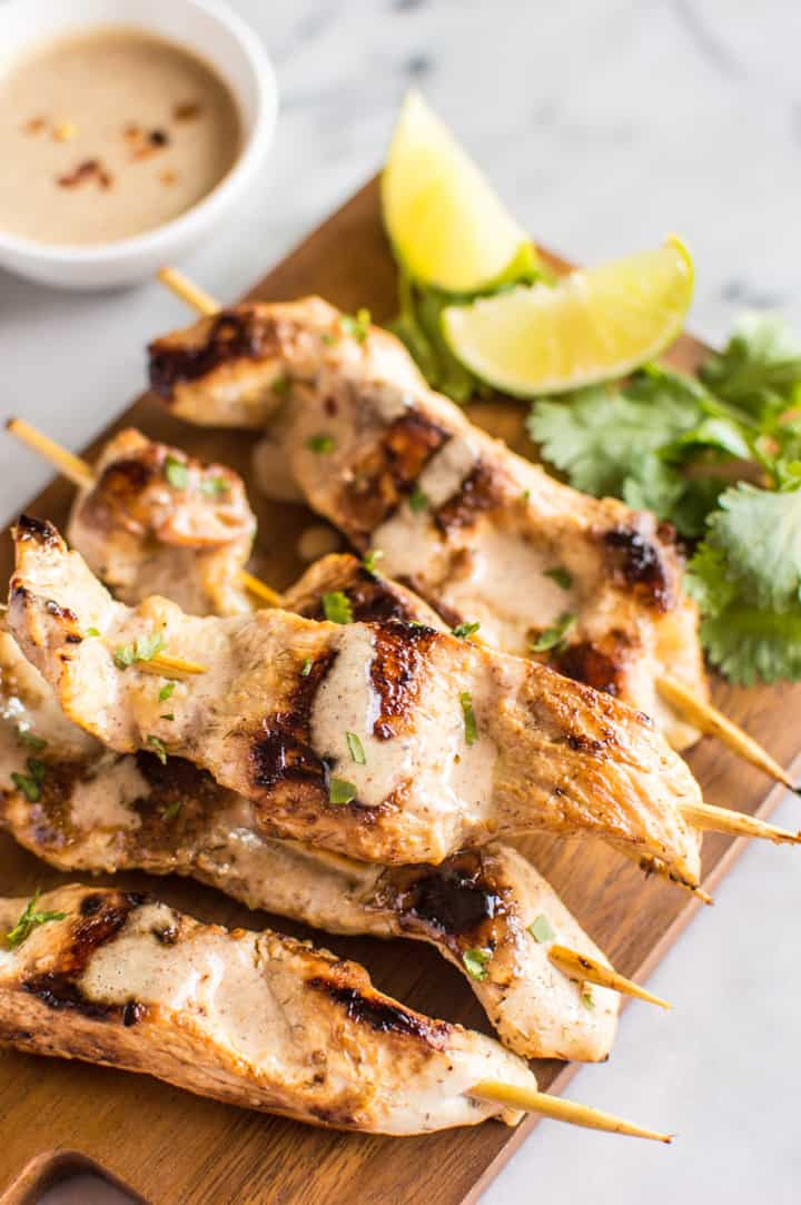Lemongrass Chicken Satay with Almond Butter Dipping Sauce - easy prep ...