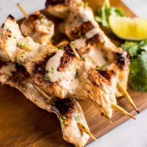 Lemongrass Chicken Satay with Almond Butter Dipping Sauce - easy prep and packed with flavor! paleo, gluten-free | healthynibblesandbits.com