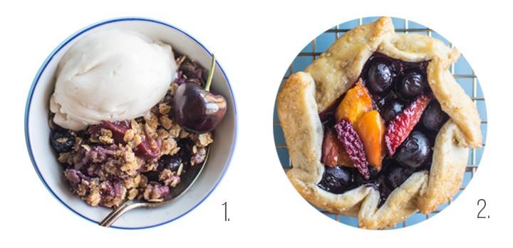 Vegan Peach & Cherry Crumble, Mini Berry & Peach Galettes on healthynibblesandbits.com