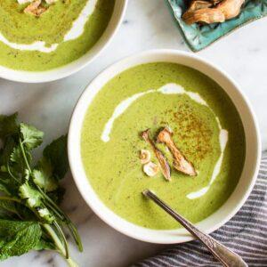 Summer Green Soup with King Oyster Mushroom Chips - gluten-free, whole30, paleo, vegan | healthynibblesandbits.com