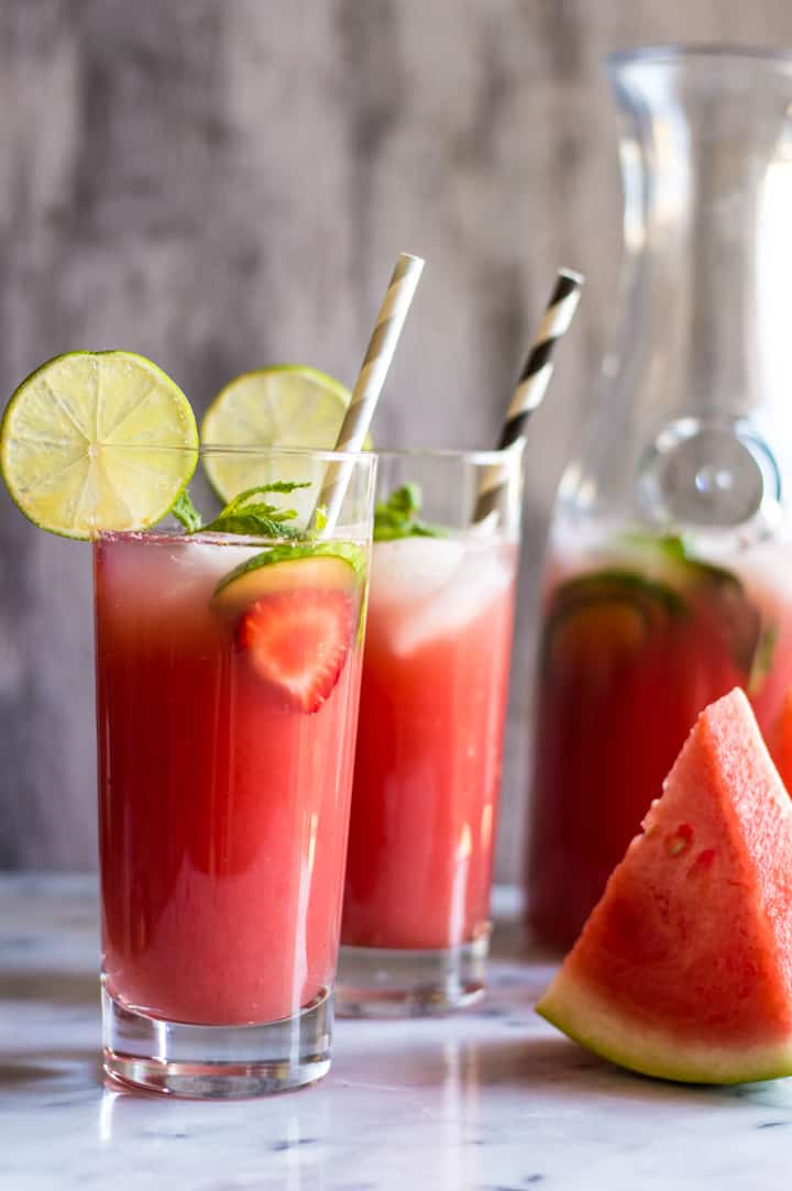 Sugar-Free Watermelon Strawberry Agua Fresca - super simple, five-ingredients | healthynibblesandbits.com