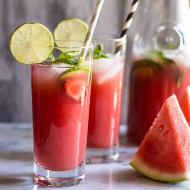 Sugar-Free Watermelon Strawberry Agua Fresca | Healthy Nibbles & Bits