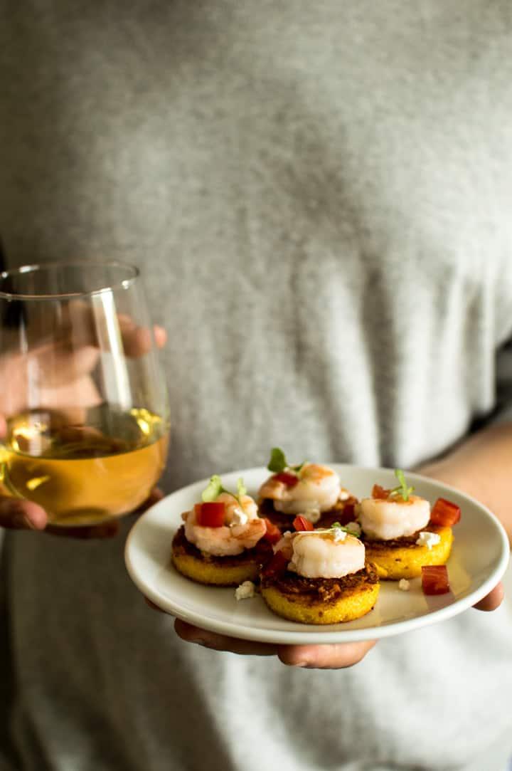 Cheesy Shrimp Polenta Bites - easy gluten-free party appetizer! | healthynibblesandbits.com