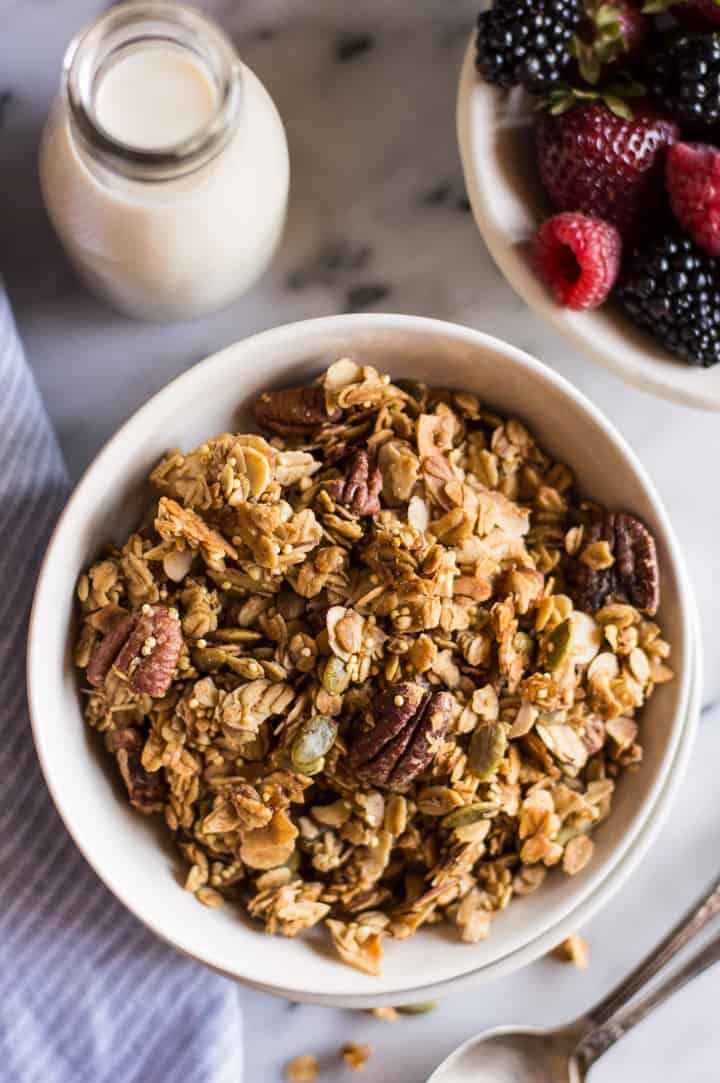 Easy Ginger Spiced Granola with Ancient Grains - this healthy, gluten-free granola is so easy to make at home, you won't want to buy store bought granola again! | healthynibblesandbits.com