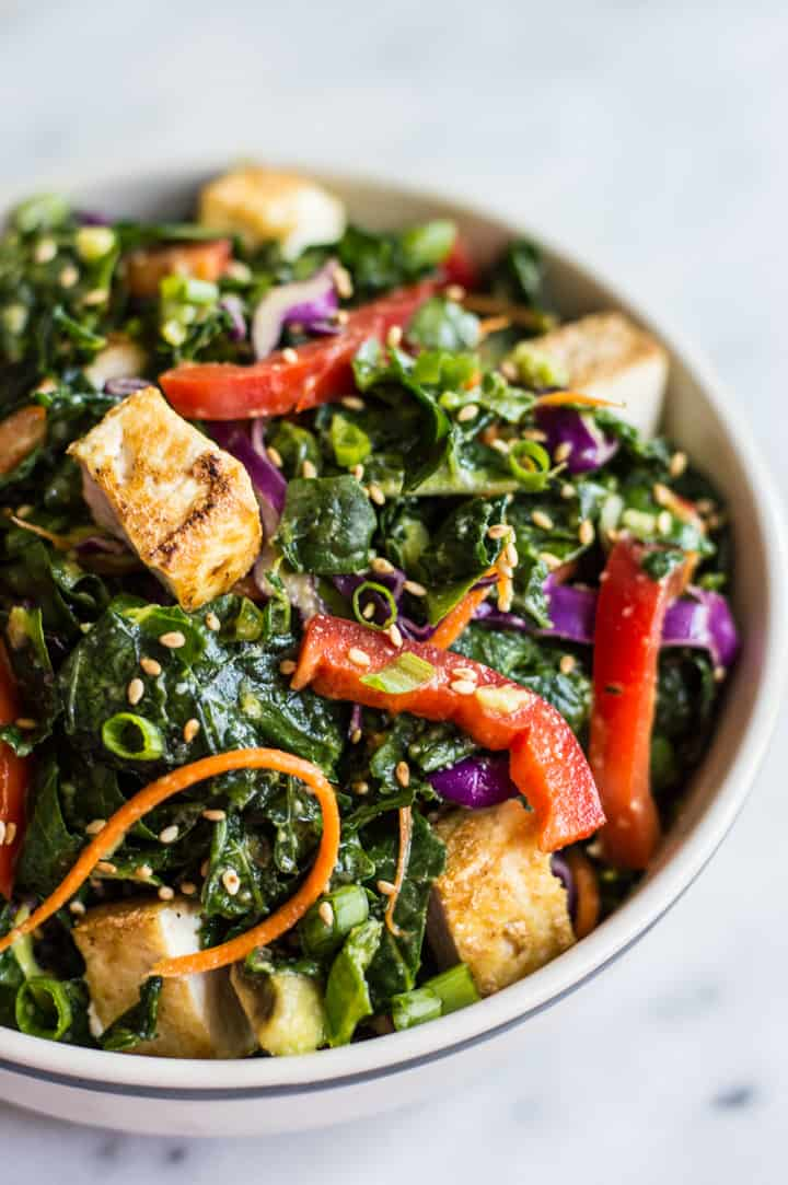 Kale Salad with Fried Tofu and Miso Ginger Dressing | Healthy Nibbles ...