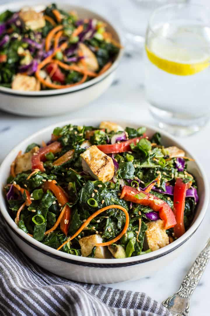 Kale Salad with Fried Tofu and Miso Ginger Dressing - an easy vegan salad with asian flavors