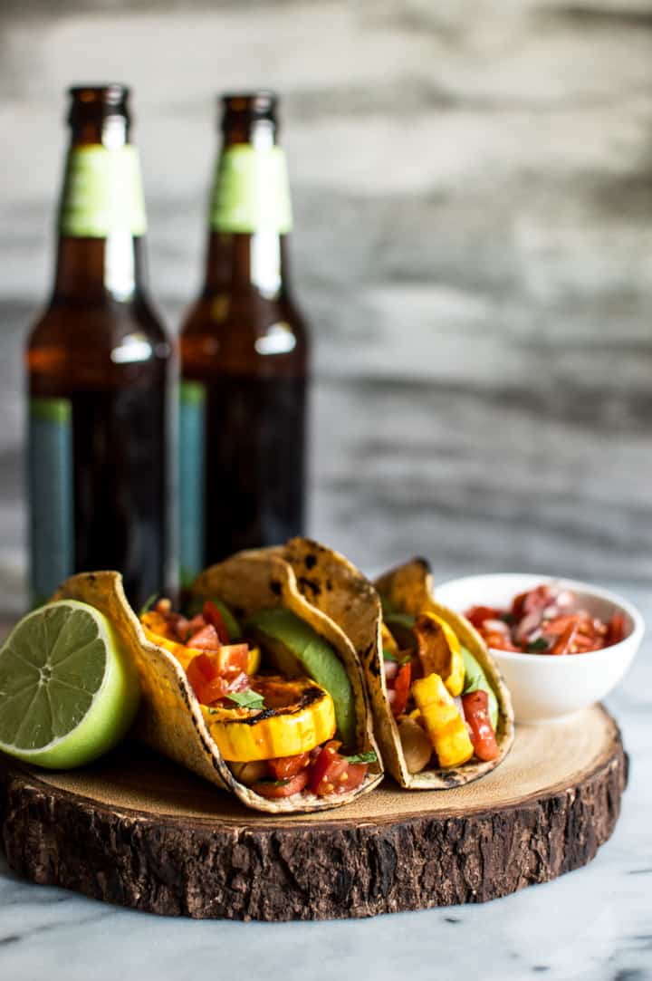 Harissa Miso Delicata Squash Tacos - easy vegan meal that's ready in 30 minutes!   healthynibblesandbits.com