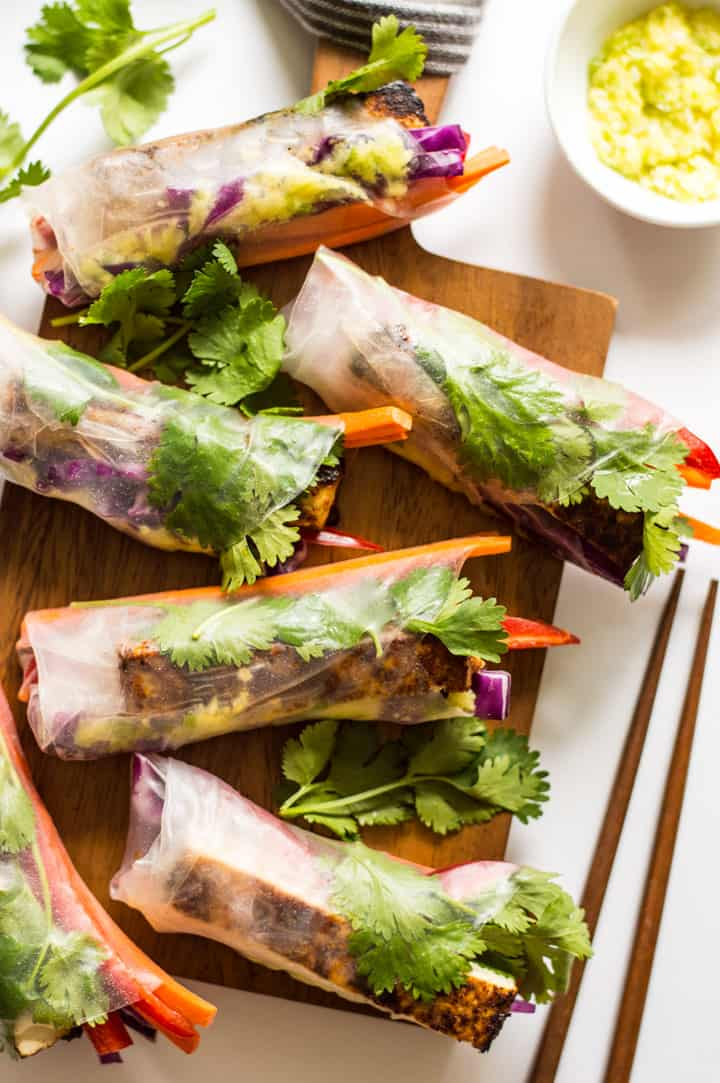 Red Curry Brown Sugar Tofu Spring Rolls with Ginger Onion Paste - vegan and gluten-free appetizer! | healthynibblesandbits.com