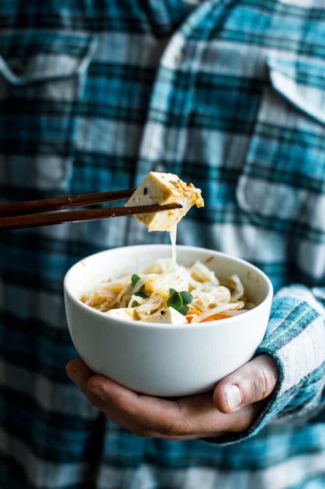 Curry Laksa with Tofu - a delicious, gluten-free dish to keep you warm in the winter! by Lisa Lin of Healthy Nibbles & Bits