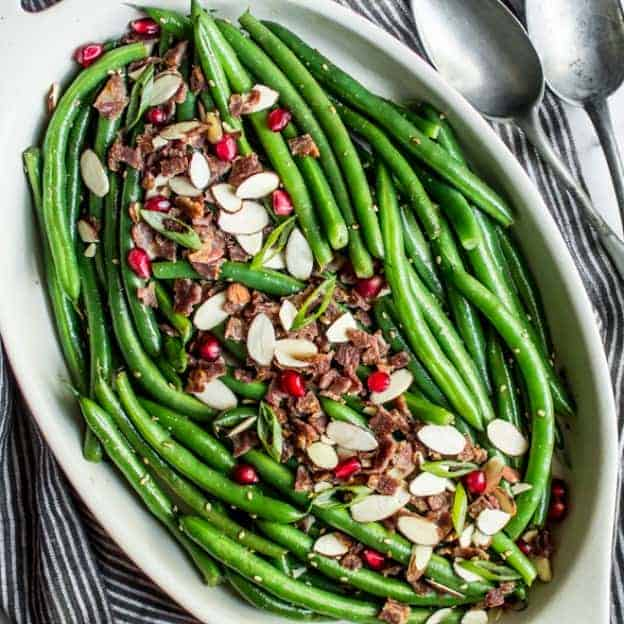 green beans green beans with miso dressing and almonds green beans ...