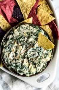 Vegan Spinach Artichoke Dip by Lisa Lin of Healthy Nibbles & Bits