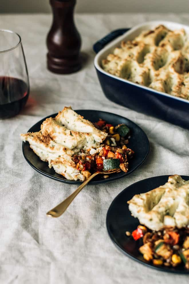 Vegetarian Cajun-Spiced Shepherd's Pie - an easy and healthy version of the classic shepherd's pie! | by Lisa Lin of Healthy Nibbles & Bits