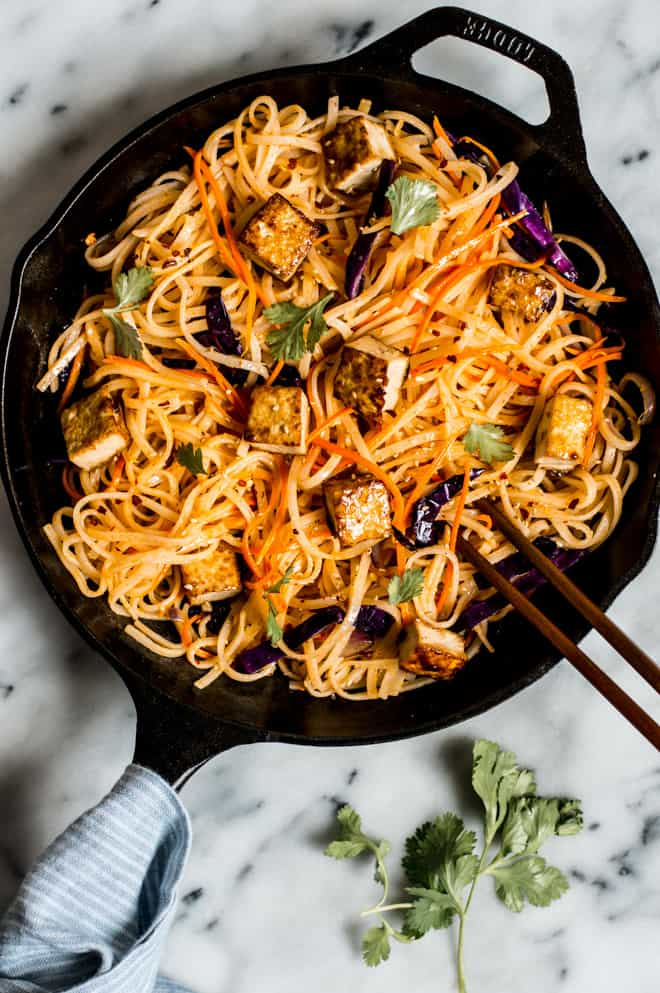 30-Minute Coconut Curry Stir Fry Noodles with Glazed Tofu - easy weeknight gluten free and vegan meal!