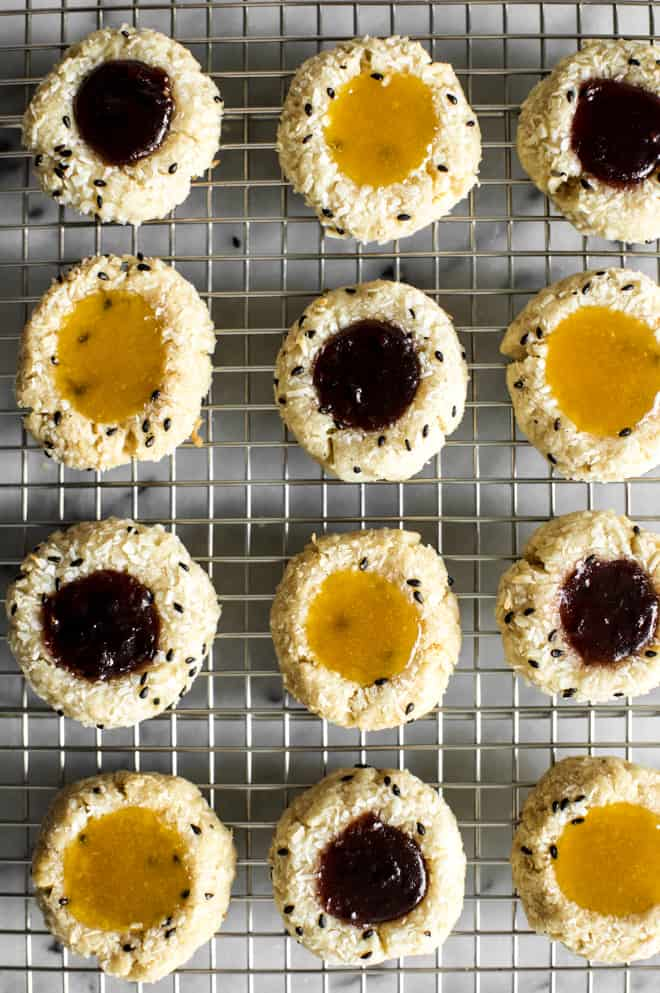 Easy Gluten-Free Thumbprint Cookies Recipe that are made with less than 10 ingredients! by Lisa Lin of healthynibblesandbits.com