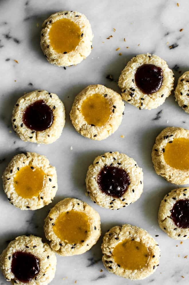 Easy Gluten-Free Thumbprint Cookies Recipe - made with less than 10 ingredients! by Lisa Lin of healthynibblesandbits.com