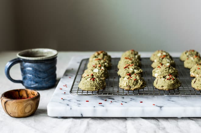 Easy Gluten Free Matcha Cookies with White Chocolate and Pecans by Lisa Lin of healthynibblesandbits.com