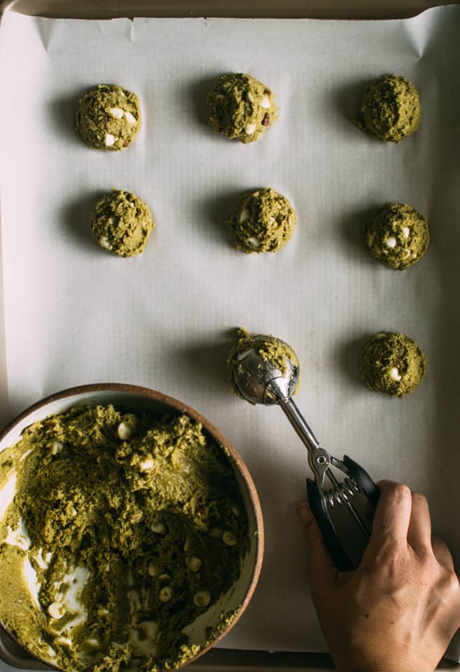 Easy Gluten-Free Matcha Cookies with White Chocolate and Pecans