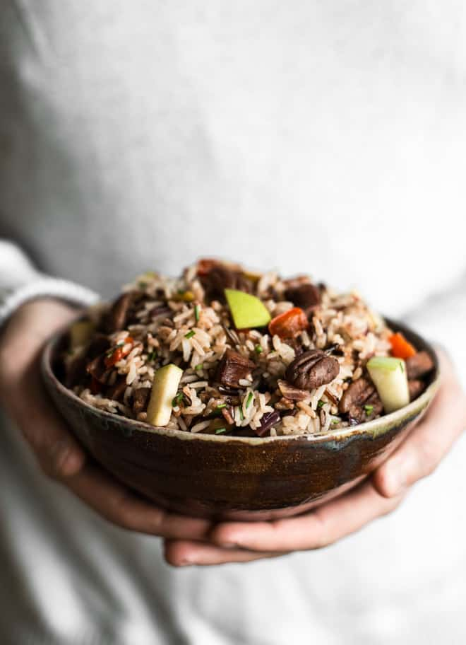 Chorizo and Apple Rice Salad - an easy, healthy, gluten-free meal ready in 45 minutes! by Lisa Lin of healthynibblesandbits.com