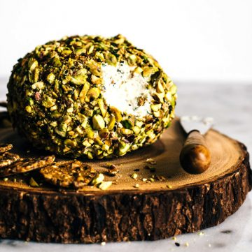 Japanese-Spiced Goat Cheese Ball - an easy, gluten-free party appetizer. It's filled with Japanese spices and covered in toasted pistachios! by Lisa Lin of healthynibblesandbits.com