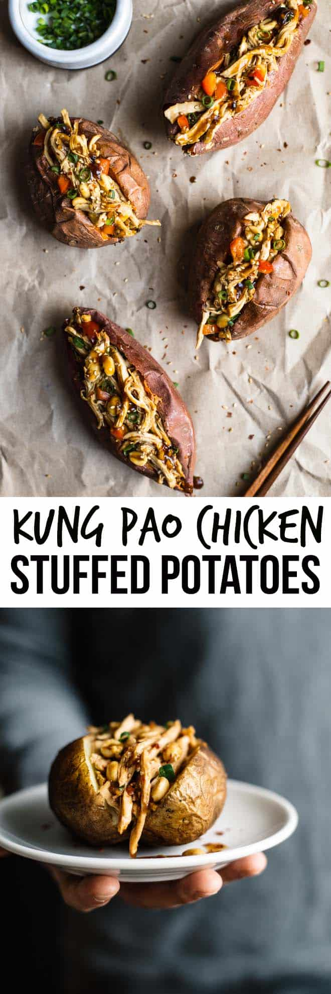 Kung Pao Chicken Stuffed Potatoes, Two Ways - a delicious, gluten-free dish that is ready in 45 minutes! by Lisa Lin of healthynibblesandbits.com